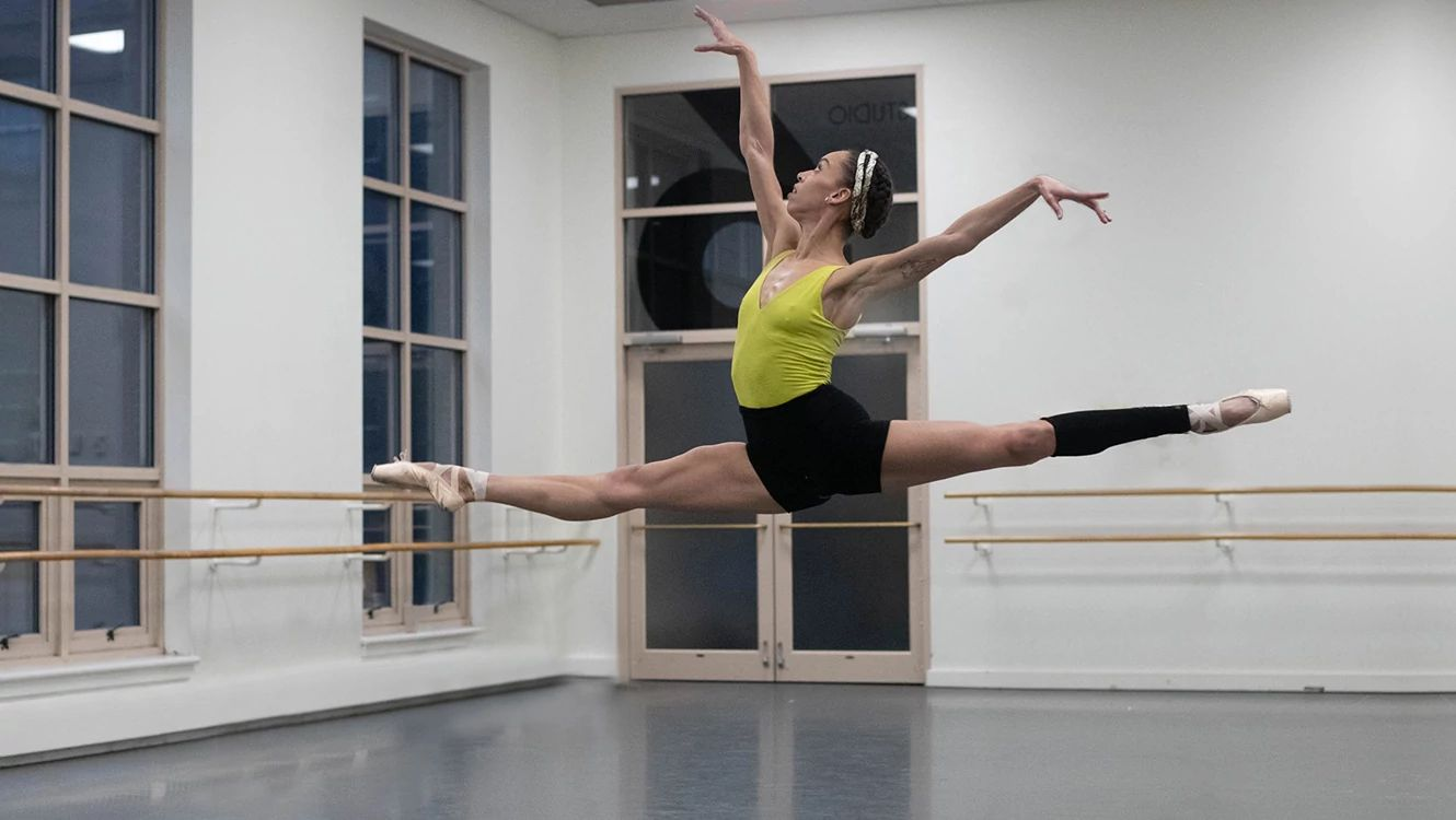 Soloist Chyrstyn Fentroy rehearsing in the studio. Photo by Brooke Trisolini.